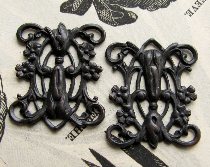 Art Nouveau Blooming Trellis link, black brass, 23mm, 2 connectors black flowers, noir patina, flat rectangle filigree, Fallen Angel Brass