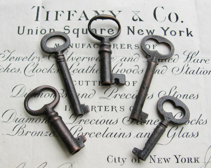 5 genuine antique steamer trunk keys, refinished - 1.5 inches long, distressed, antiqued black patina, authentic vintage key, rustic old key