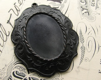 25x18mm decorative cameo or cabochon setting, black antiqued brass frame, noir patina, dark aged patina, 25x18 18x25 oxidized