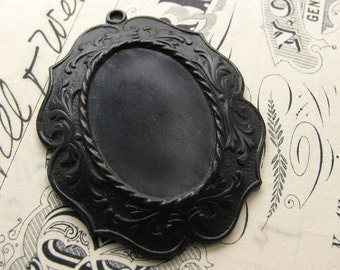25x18mm decorative cameo or cabochon setting, black antiqued brass frame, noir patina, black aged patina, 25x18 18x25 oxidized