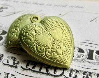 NEW! Absinthe finish (2) green patina puffed heart charms, brass made in the USA, hand finished in the Fallen Angel Brass studios