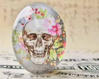 Skull with pink garden flowers, 25x18mm glass oval cabochon, Day of the Dead, Halloween, handmade in this shop, feminine macabre, bones rose