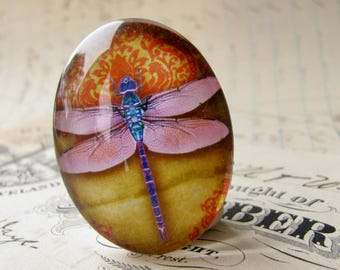 Pink dragonfly cabochon, handmade glass oval cabochon, 40x30mm or 25x18mm, wallpaper background, winged Wonder collection