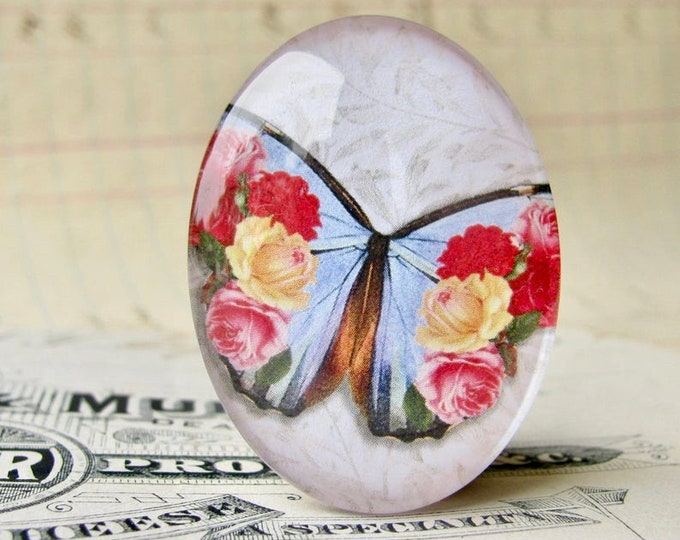 Blue butterfly cabochon, red flowers roses, handmade glass oval cabochon, 40x30mm 30x40mm, garden, transformation, rebirth, renewal