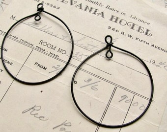 Handmade 45mm hoop dangles for earrings or pendants, matte black brass (2 round links) black patina drop, made entirely in the USA