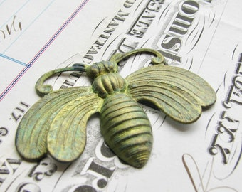 New! Absinthe finish, Queen Bee, Art Nouveau brass, upturned wings, large bee pendant, green patina with aqua highlights, green fairy