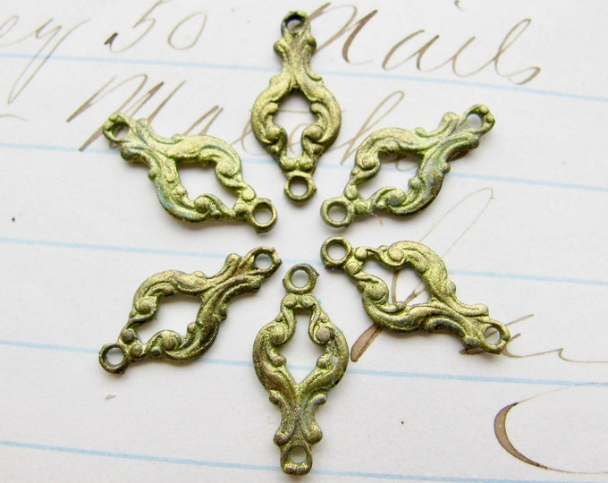 Absinthe finish, green patina, 15mm scrolled links (6 links) swirl design, green fairy, tiny brass connectors, artisan crafted