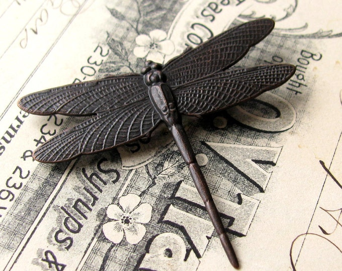 Large dragonfly,  52mm black antiqued brass dragonfly stamping, flat ornament, black patina, gardening, nature, bug, insect, winged creature