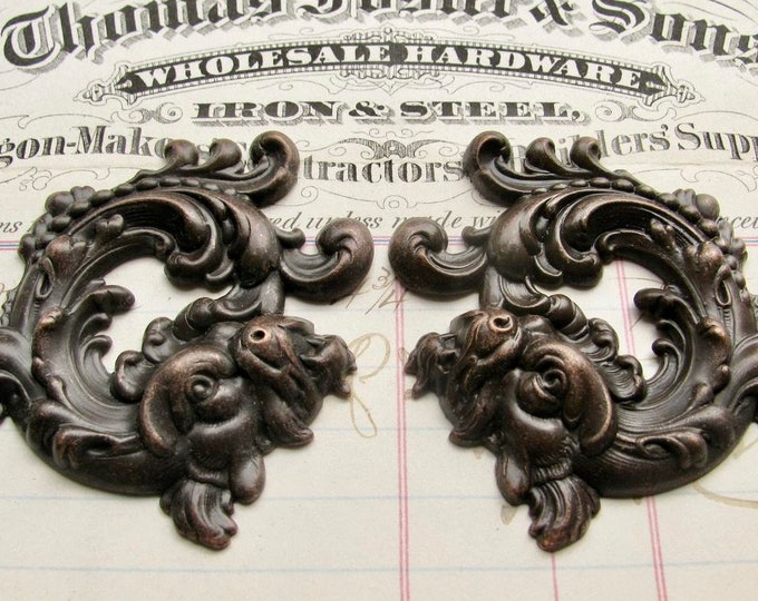 Magical lion serpent pair, 50mm, black antiqued brass stamping, Baphomet, left right, lion snake, dark magic, mythical ancient creature