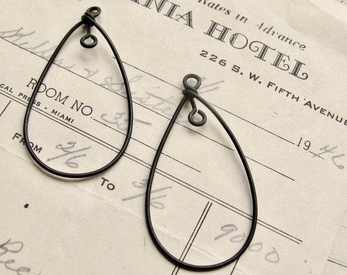 Handmade 40mm teardrop dangles for earrings or pendants, matte black brass (2 tear drop links) connectors made entirely in the USA