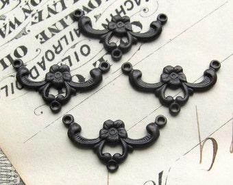 Delicate black flower necklace link, black antiqued brass, 4 links, aged black patina, nickel free, Victorian Mourning, Fallen Angel Brass