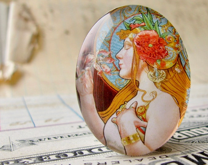 Art Nouveau vintage commercial illustration, handmade 40x30mm or 25x18mm glass oval cabochon, Louis Théophile Hingre, perfume ad
