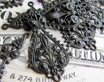 Catherine of Aragon openwork Etruscan filigree, black antiqued brass, 43mm long (4 charms) earring drop, aged patina dangle