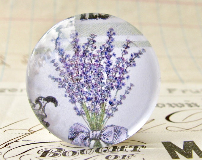 Flowering Lavender, herbs from our Vintage Kitchen collection of handmade glass oval cabochons, 25mm circle, cooking, bottle cap 1 inch