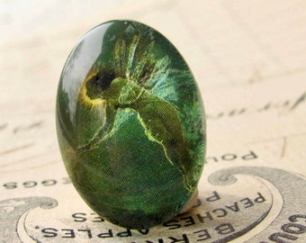 Absinthe Fairy, artisan crafted glass oval cabochon, emerald green fairy, 25x18mm or 40x30mm Absynthe mystical magical