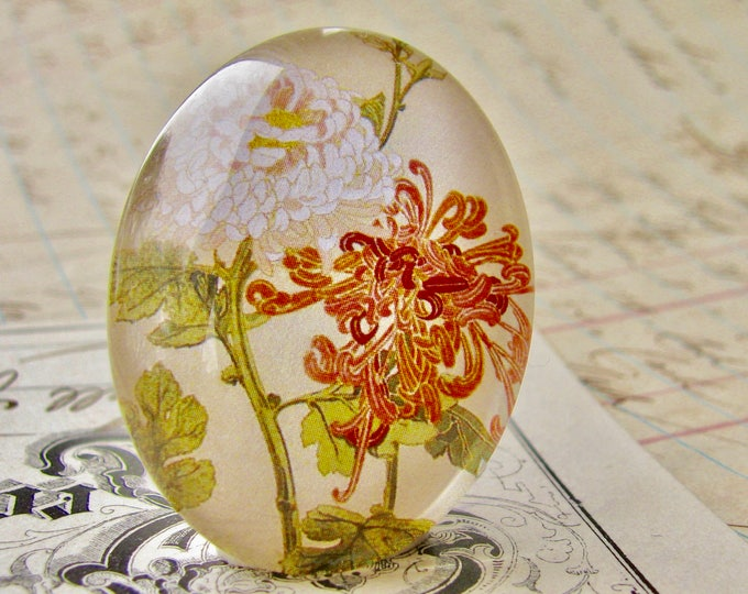 Peachy pink flower, white flower - handmade glass oval cabochon - 40x30mm 30x40mm 40x30 40mm 30mm 40 30 mm,  floral