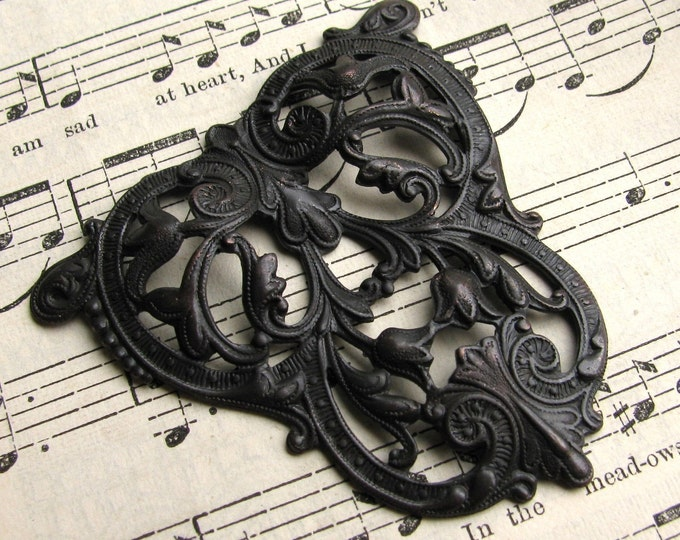 Art Nouveau Crest - black antiqued brass - aged black patina, 46mm dark dapt triangle filigree ornament,  made in USA, lead nickel free