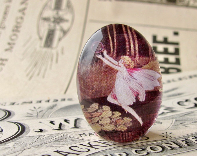 Pink fairy, handmade glass oval cabochon, 25x18mm, floating fairy, children's illustration, photo glass cabochon, 25mm 18mm 18x25mm oval