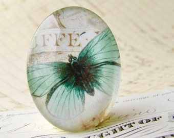 Aqua butterfly cabochon from our Winged Wonders collection, handmade glass oval cabochon, 40x30mm, vintage specimen, garden, transformation