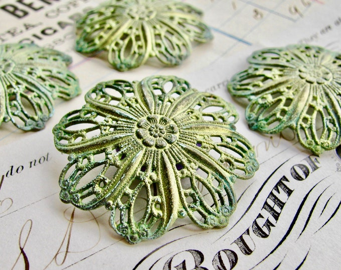 Absinthe green shimmer patina with aqua highlight (2) Tiffany style domed flower filigree ornaments, 35mm, Art Nouveau brass, green fairy