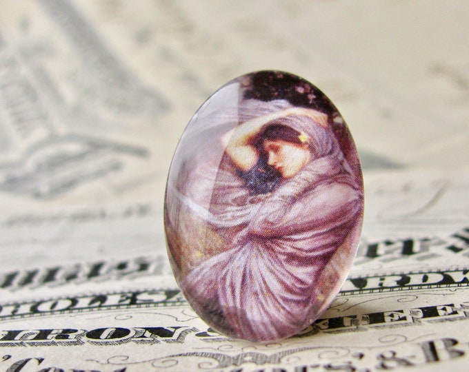 "John William Waterhouse ""Boreas"" 25x18mm glass oval cabochon, artisan crafted in this shop, purple, Art History collection, photo glass"