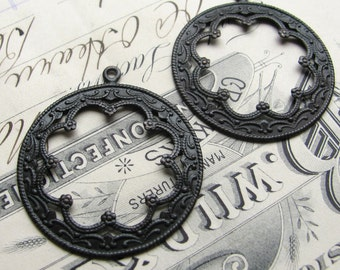 Antiqued black brass Basilica hoops (2 hoops) 35mm, aged dark patina, large decorative round pendant, earring drops, FF