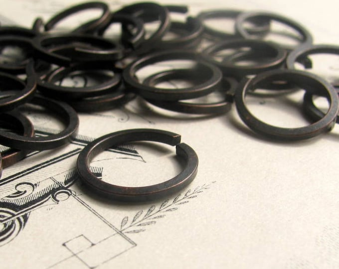 12mm squared edge jump ring, black antiqued brass (20 rings) lead, nickel free, made in the USA, 16 gauge, aged patina, oxidized finish