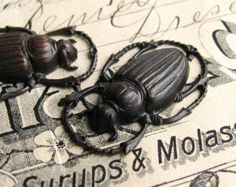 Large scarab beetle charm, link, ornament, 32mm, black antiqued brass (2 bugs) dark patina, lead nickel free, blackened  OR-FF-018