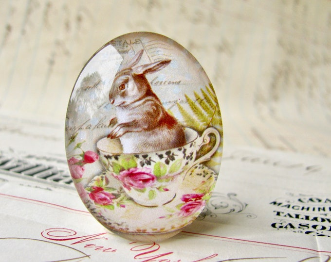Rabbit at tea time, handmade glass oval cabochon, 25x18mm or 40x30mm, artisan crafted in this shop, spring garden party, pink roses, bunny