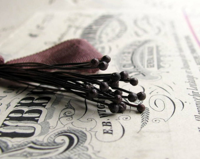 "24 gauge handmade headpins - ""Elderberry"" - black copper 24ga wire, 1mm round ball, 2"" long, dark eggplant purple (25 head pins)"