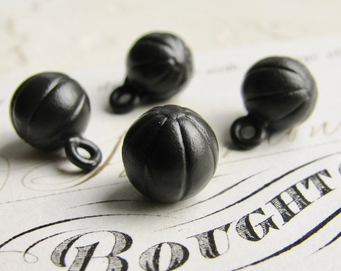 Little melon ball charm, black patina, 8mm (6 black balls) mini ball, round black ball, mini ball, black brass, black sphere, orb