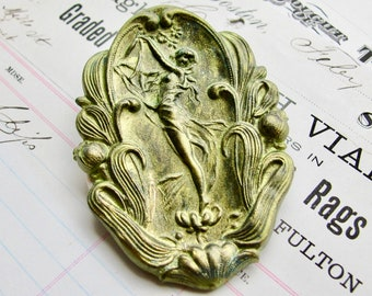 New! Absinthe finish, green patina, Art Nouveau ornament, water nymph, antiqued brass, 68mm, 2 3/4 inches, flat brass stamping, oval brass