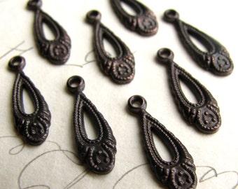 Tiny teardrops, antiqued black brass (8 tear drops) 13mm delicate rain drop raindrop charms, dark aged patina, small mini miniature