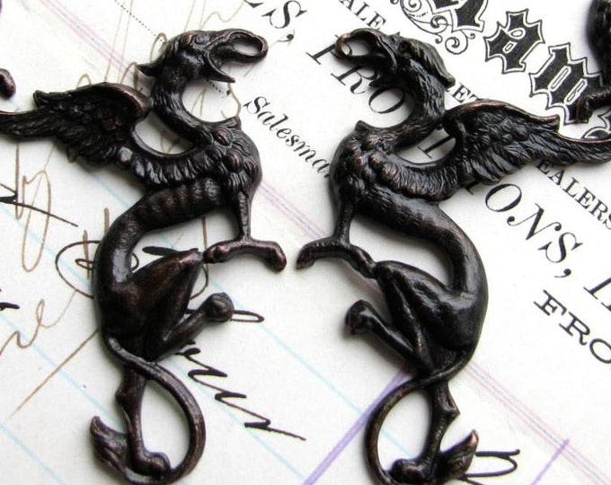Griffin pair, 35mm black antiqued brass links (2 Gothic symbols connectors) dragon ornament, dark magic, mythical mythological creature
