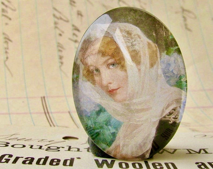 Art Nouveau, Élisabeth Sonrel, handmade 40x30mm glass oval cabochon, floral, blue hydrangea, flower veil, woman face