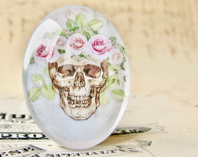 Skull with pink flower tiara, 40x30mm glass oval cabochon, Day of the Dead, Halloween, handmade in this shop, feminine macabre, bones roses