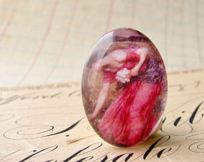 """John William Waterhouse """"Narcissus"""" 25x18mm or 40x30mm glass oval cabochon, artisan crafted in this shop, Art History collection, pink dress"""