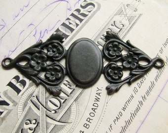 Unique floral oval antiqued brass frame setting for ornaments and cabochons, (2) bendable, dark brass, fits 18x13mm glued bezels