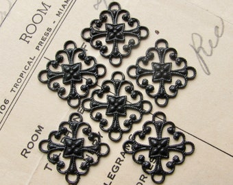 Delicate scalloped 4 way link, 12mm square, black antiqued brass connectors (6 links) aged black patina, blackened, lead nickel free