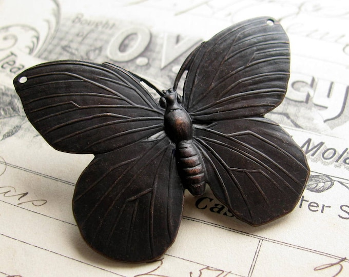 Large black butterfly link, 52mm, dark antiqued brass, huge butterfly pendant, oxidized ornament, large brass butterfly, woodland meadow