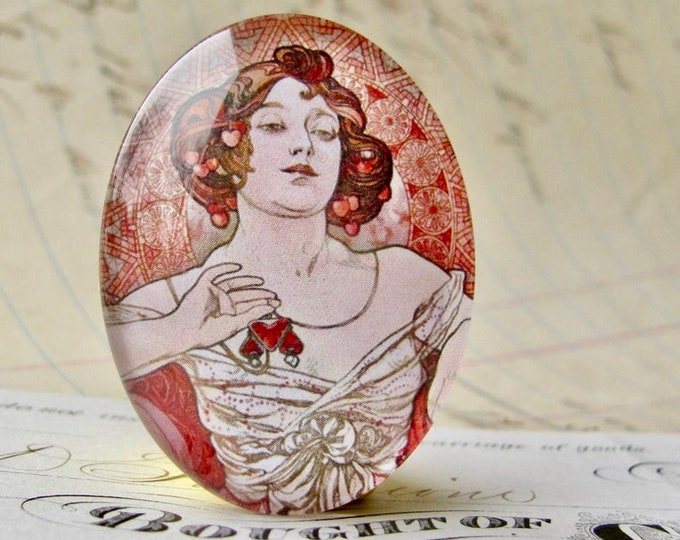 """NEW! From Alfons Mucha's """"Precious Gemstones"""" series, """"Ruby"""" handmade 40x30mm glass oval cabochon, Art Nouveau collection"""
