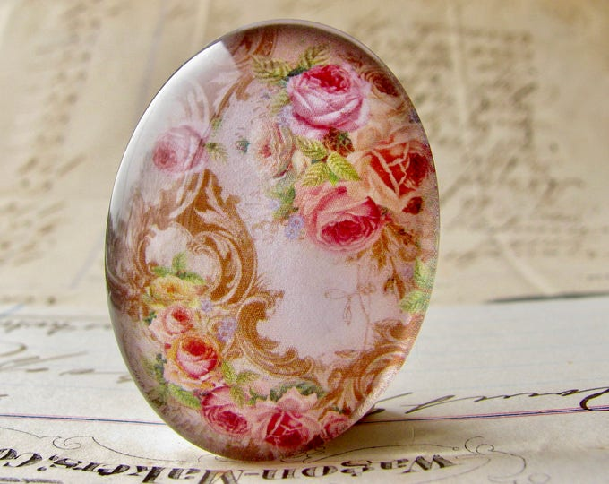 Pink roses with Victorian flourishes, handmade glass oval cabochon from our Fabulous Florals collection, 40x30mm or 25x18mm, photo glass