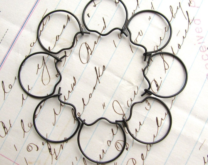 Small and light hoop ear wires - 17mm - black antiqued brass - (8 earring wires) circular circle earwire