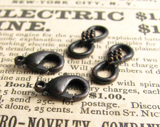 Decorative hook and eye set, 16mm infinity link, 12mm lobster clasp, black patina (2 sets) infinity link, parrot clasp set