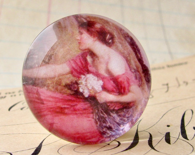 "John William Waterhouse ""Narcissus"" 25mm glass cabochon, handmade in this shop, Art History collection, 1 inch circle, bottle cap size, pink"