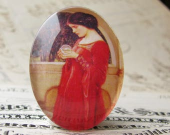 "John William Waterhouse ""The Crystal Ball"" 40x30mm glass oval cabochon, artisan crafted in this shop, fine art cabochon, Art History"