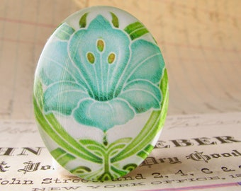 """NEW! From the """"Art Nouveau Ceramic Tiles"""" series, handmade 40x30mm glass oval cabochon, Belle Époque, blue daffodil flower, green stem"""