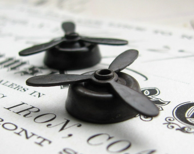 Twirling Black Brass Propellers, mounted and spinning, black antiqued brass, 22mm (2) aviation airplane prop plane, noir patina