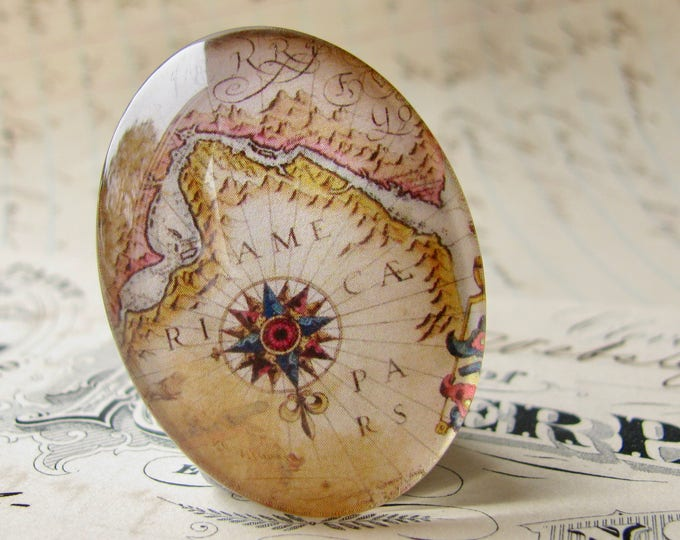 Antique map compass rose, vintage map, travel, navigation, handmade oval glass cabochon, 40x30mm or 25x18mm, Historical Maps collection