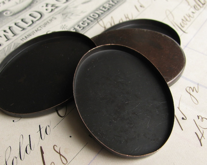 40x30mm oval brass setting bezel cups, plain edge, black antiqued brass blanks (4 bezels) black bezels, 30x40mm 40mm 30mm 40 x 30 flat edge